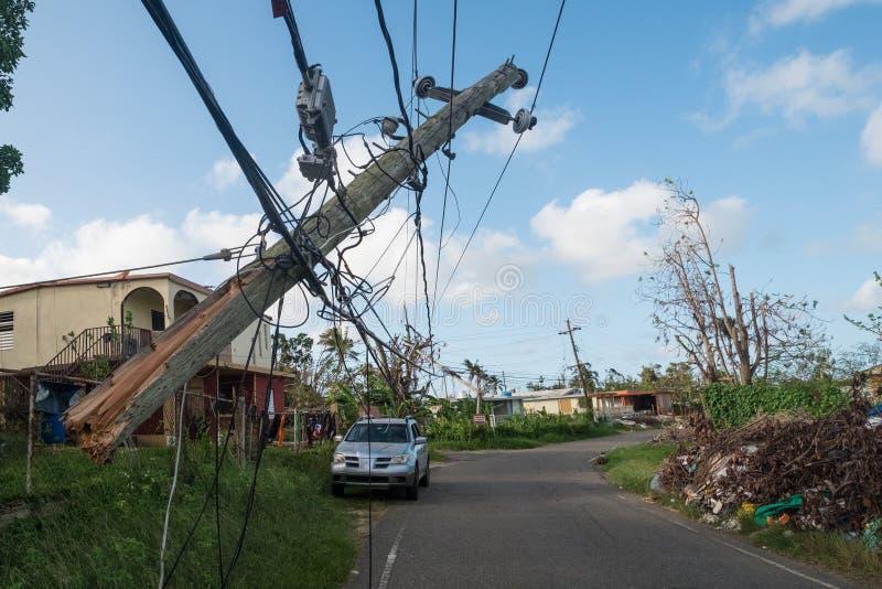 从飓风玛丽亚的残骸 库存图片