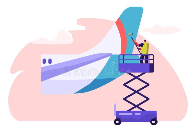 从飞机的人洗衣机清洗的尾巴零件 有路辗和洗涤剂的字符洗涤的飞机 飞机干净的服务 ?? 皇族释放例证