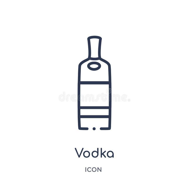 从饮料概述汇集的线性伏特加酒象 稀薄的线在白色背景隔绝的伏特加酒传染媒介 伏特加酒时髦例证 皇族释放例证