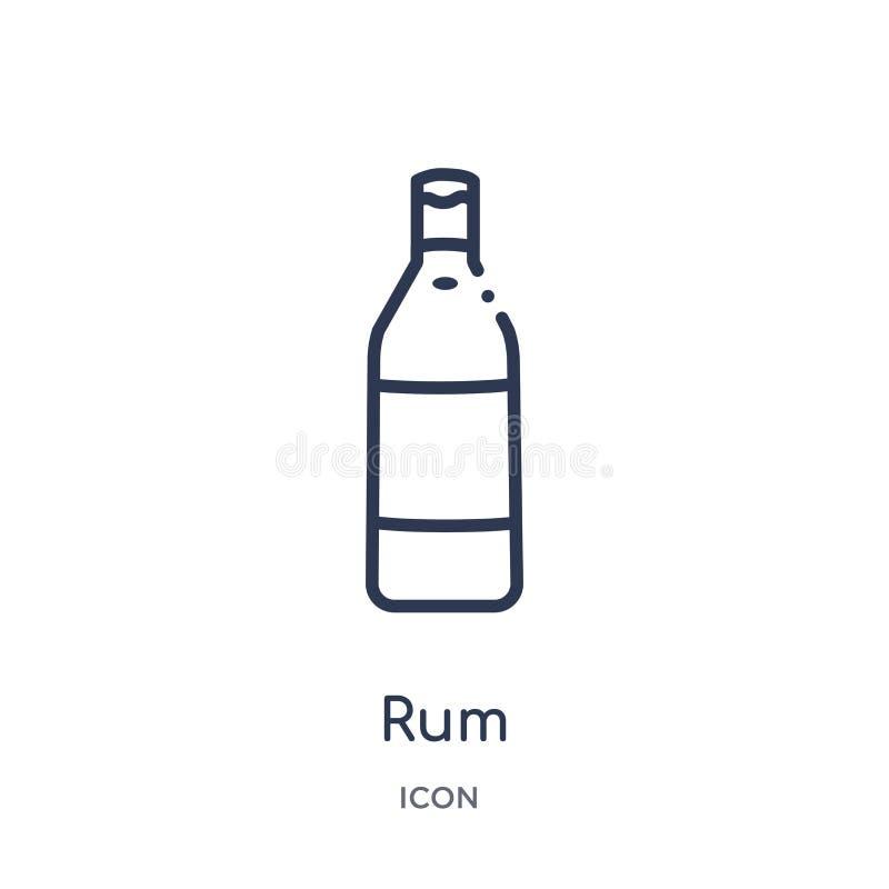 从饮料概述汇集的线性兰姆酒象 稀薄的线在白色背景隔绝的兰姆酒传染媒介 兰姆酒时髦例证 皇族释放例证
