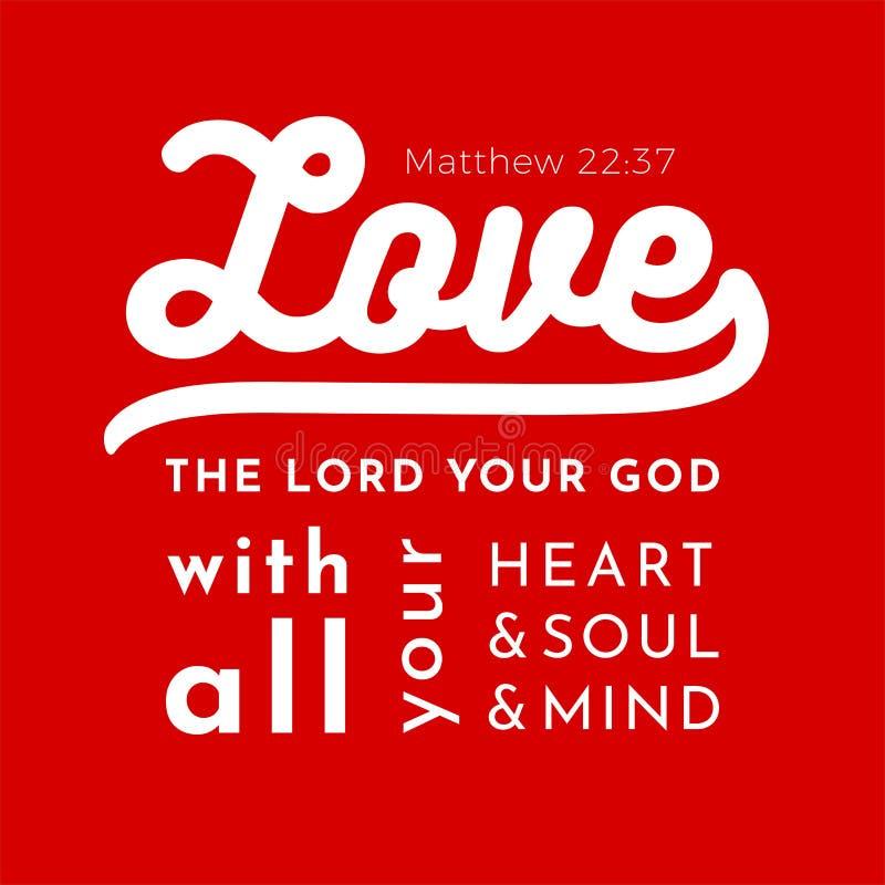 从马修福音书的圣经的圣经诗歌,爱您的阁下 库存例证