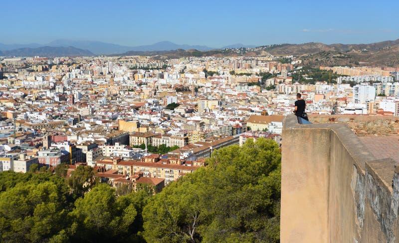 从马拉加从城堡的安达卢西亚西班牙的看法 库存图片
