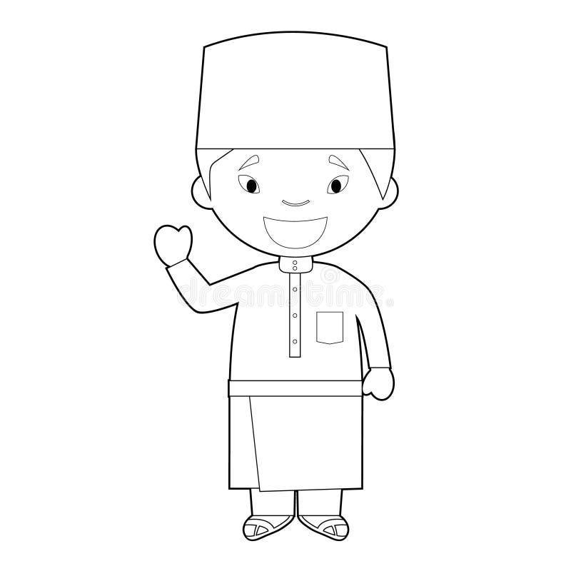 从马来西亚的容易的上色卡通人物在传统方式传染媒介例证穿戴了 皇族释放例证