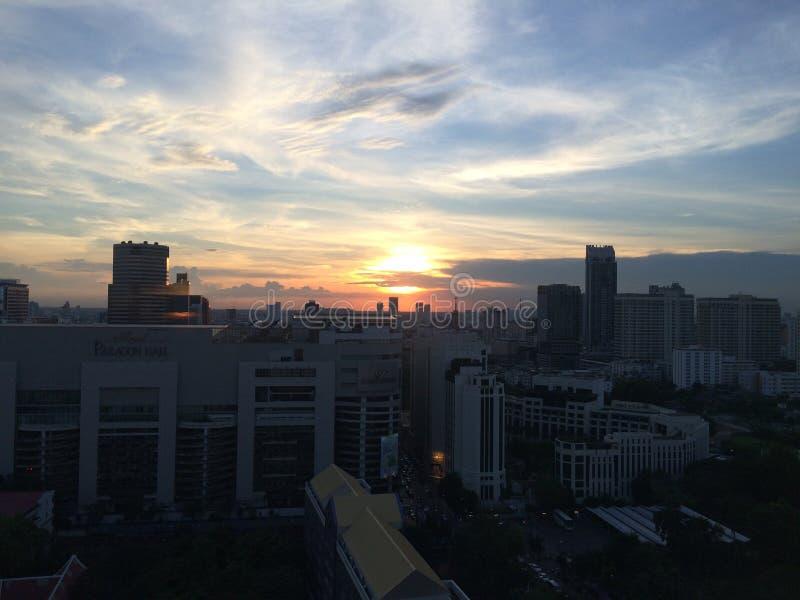 从高层建筑物的曼谷视图 图库摄影