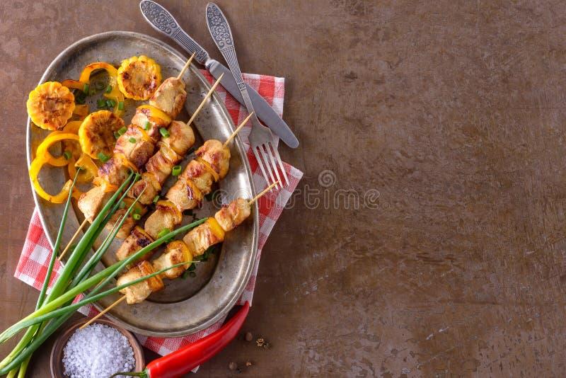 从鸡肉的Kebab 库存照片