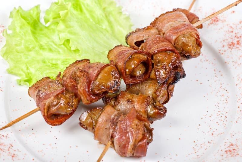 从鸡肝的Kebab 库存图片
