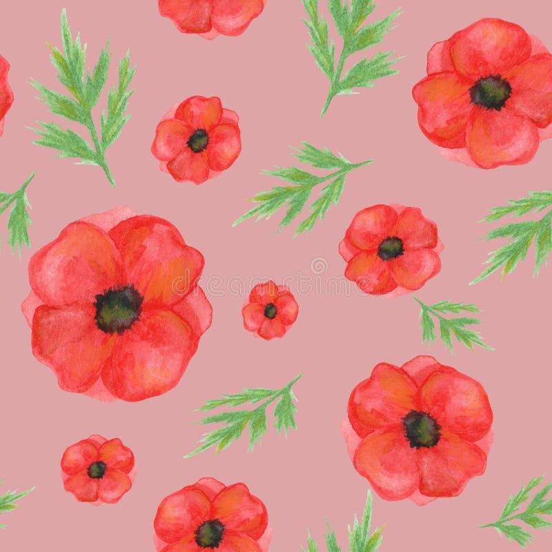 从鸦片的无缝的样式在淡粉红的背景 手画水彩 对设计,纺织品,印刷品 向量例证