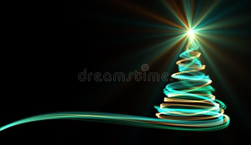从黄色,蓝色和绿色霓虹条纹的圣诞树 库存例证