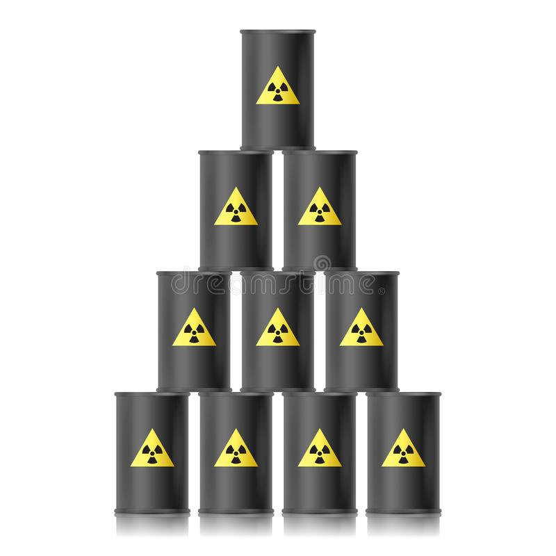 从黑桶的金字塔与生物危害品标志 也corel凹道例证向量 向量例证