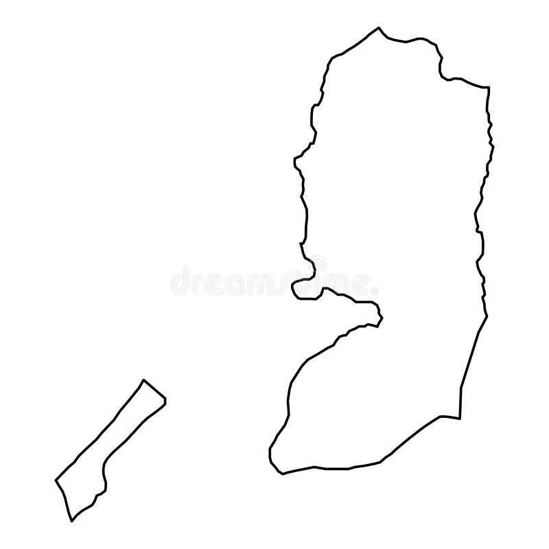 从黑等高曲线线的巴勒斯坦地图在白色背景 r 向量例证
