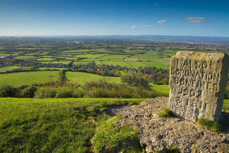 从黑雁小山Somerset的视图Quantock小山的 库存照片