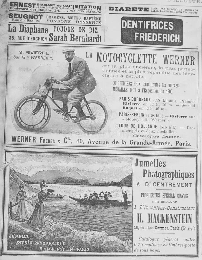 从19世纪的结尾的古法语宣传 免版税库存图片