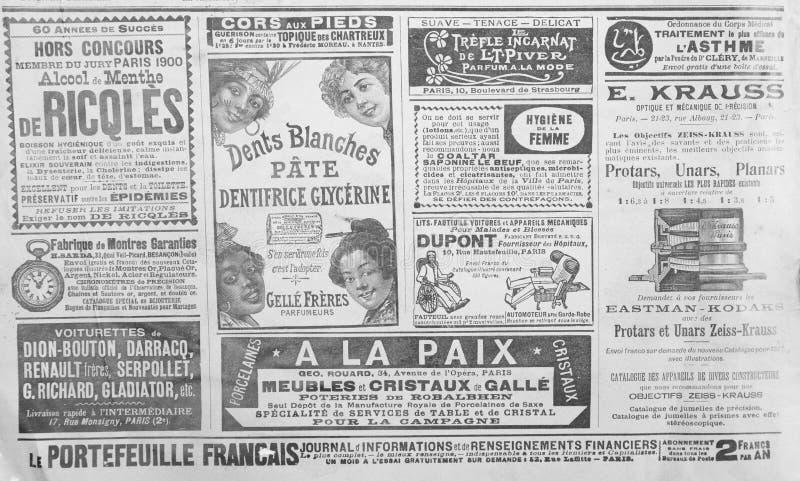 从19世纪的结尾的古法语宣传 图库摄影