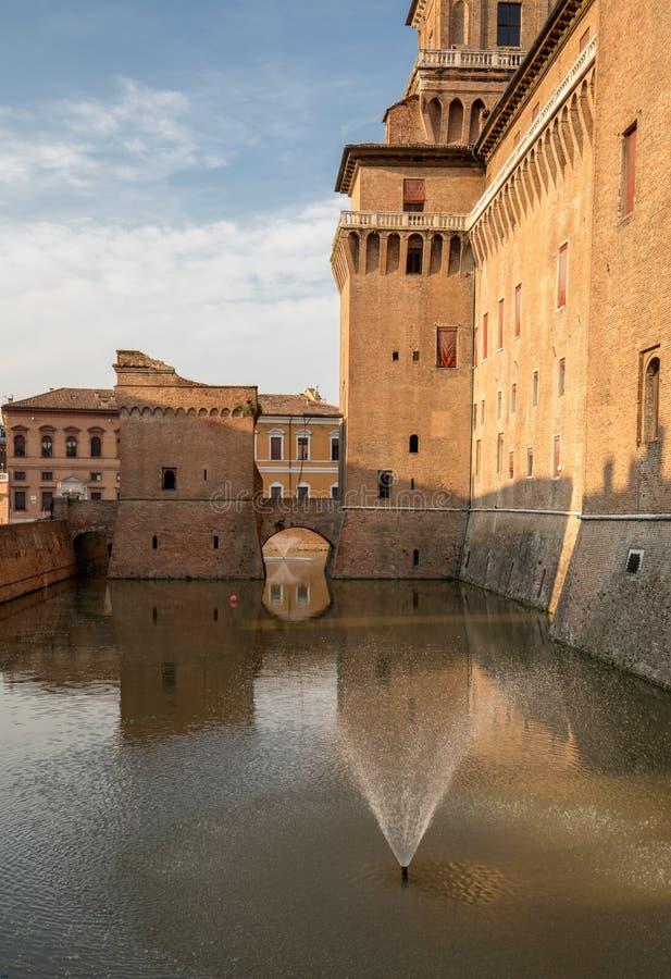 从14世纪防御Estense,四耸立的堡垒,费拉拉,伊米莉亚罗马甘, 图库摄影