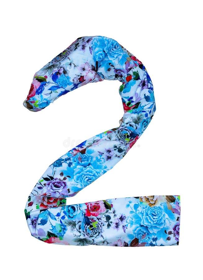 从1的被隔绝的数字到10做了与花卉图案的织品 库存图片