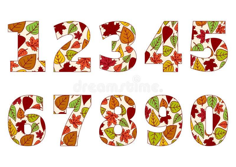 从0的被隔绝的数字到9有五颜六色的秋叶背景  ?? 向量例证