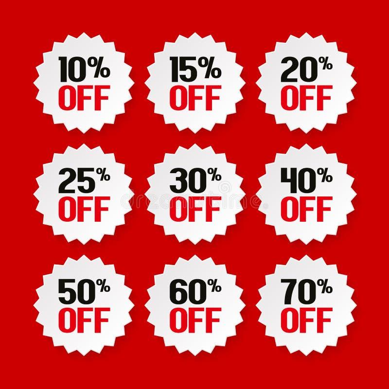 从10的销售标记到70% 产品促进 向量 库存例证