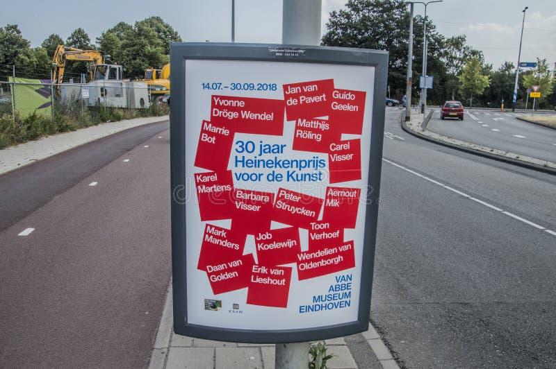 从30 Jaar Heinekenprijs Voor De Kunst Exhibition范阿布博物馆的Centercom广告牌在艾恩德霍芬荷兰2018年 库存图片