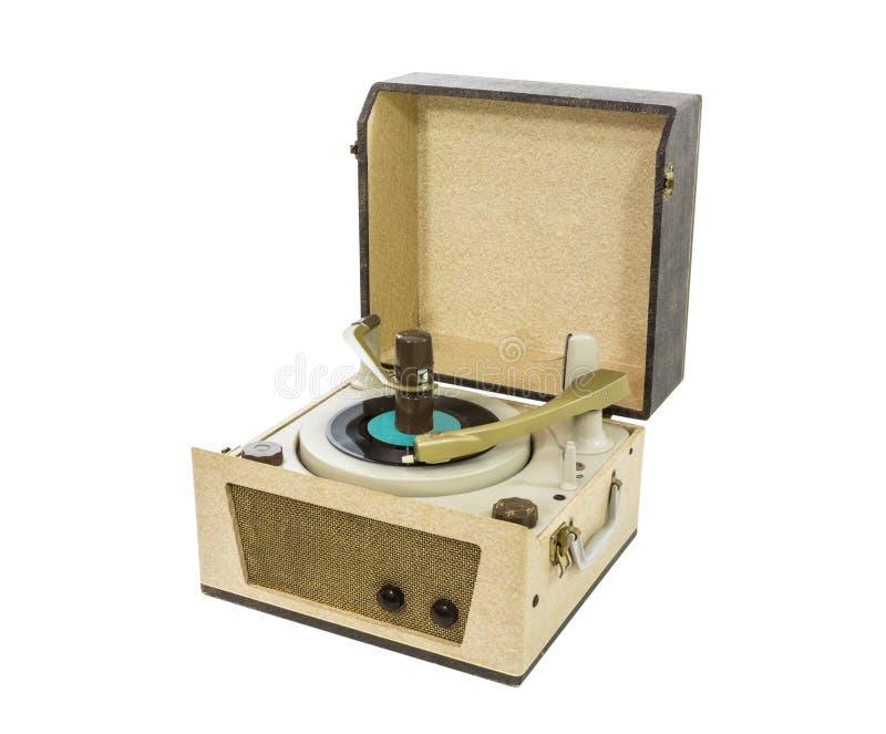 从20世纪60年代的老电唱机 免版税库存图片