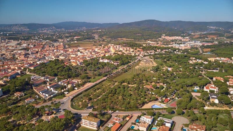 从ams的空中寄生虫图片所有西班牙镇帕拉莫斯 免版税库存照片