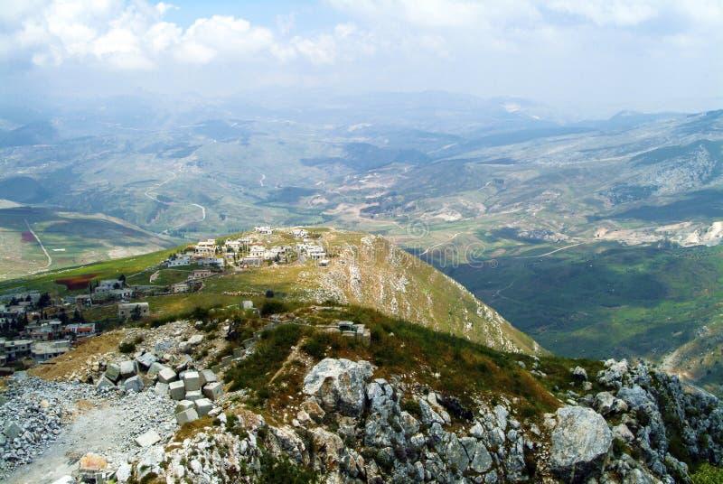 从Beaufort烈士城堡,纳巴泰省,黎巴嫩的城垛的宏伟的视图 图库摄影