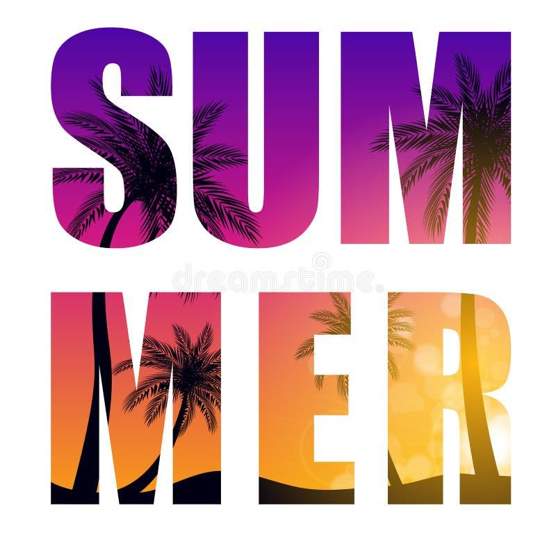 从Beautifil棕榈树叶子剪影背景传染媒介例证的夏天词 库存例证