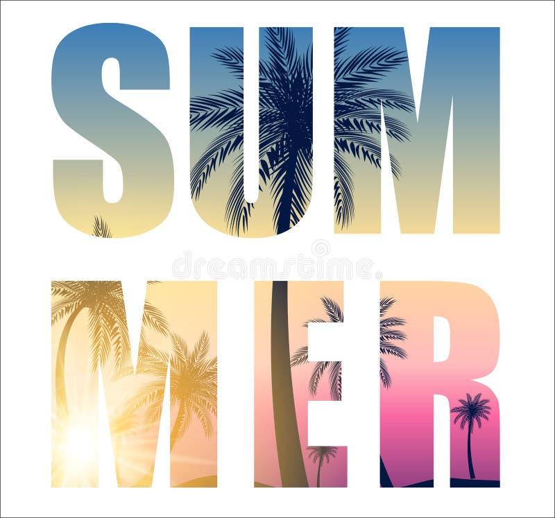 从Beautifil棕榈树叶子剪影背景传染媒介例证的夏天词 向量例证