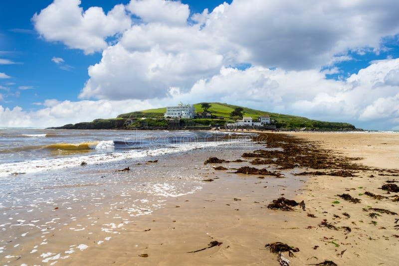 从Bigbury在海的自治都市海岛 免版税库存图片