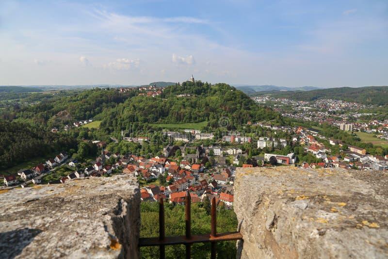 从Bilstein塔的看法向马尔斯贝尔格,德国 免版税库存照片