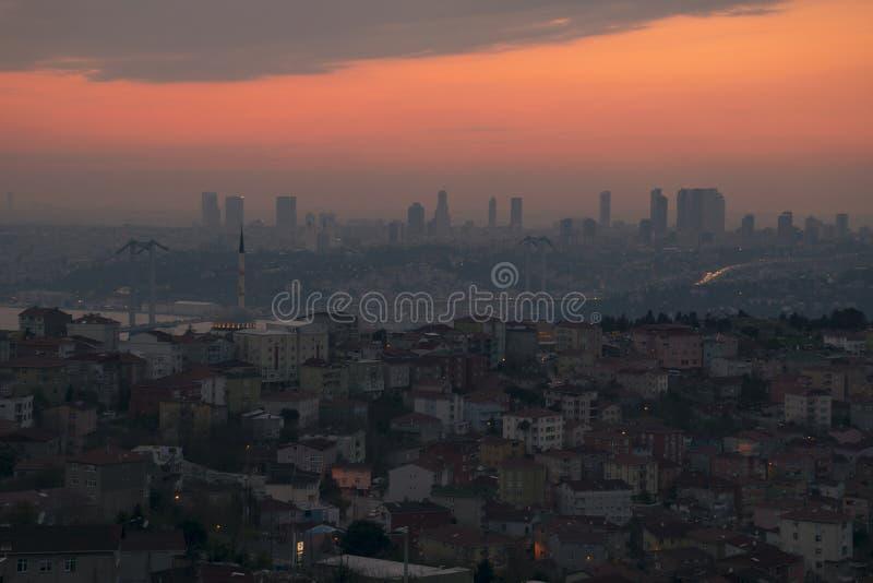 从Camlica清真寺的伊斯坦布尔风景 免版税库存照片