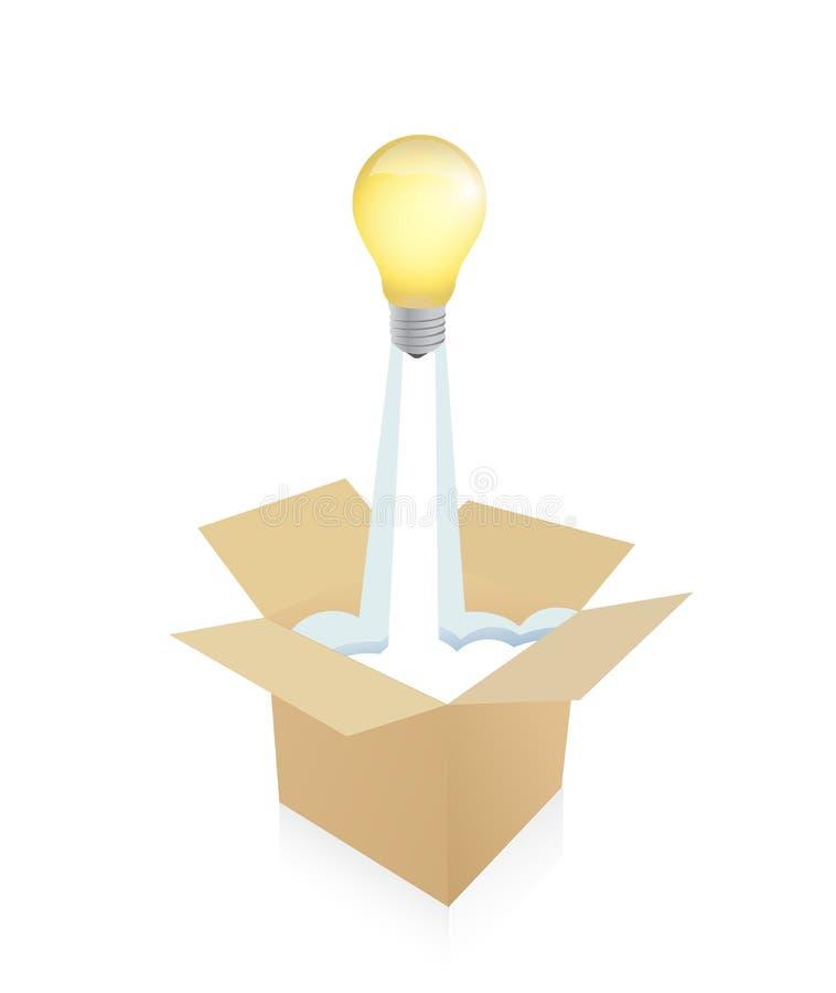 从cartboard箱子的电灯泡飞行 图库摄影