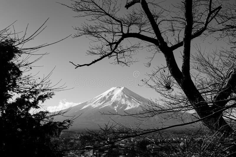 从Chureito塔公园的积雪的富士山和天空蔚蓝秋天视图在富士吉田市 E 免版税库存图片