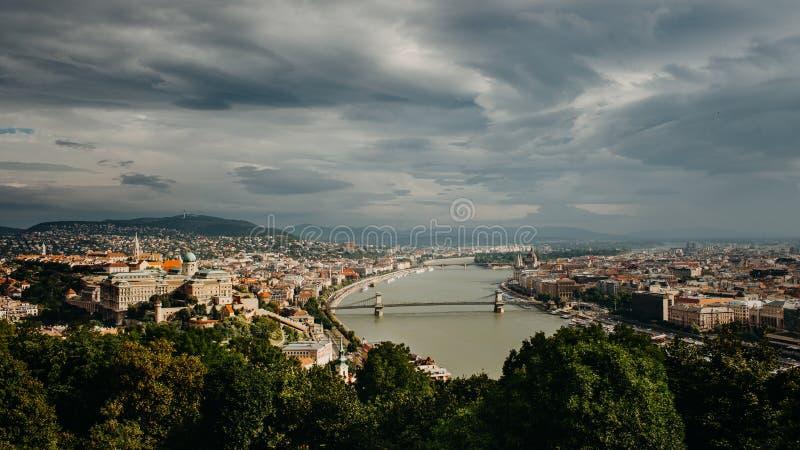 从Citadela的Budapesta视图 免版税库存图片