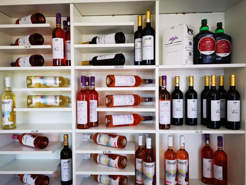 从Ciumbrud,罗马尼亚- Mureș岸的葡萄园的酒  图库摄影