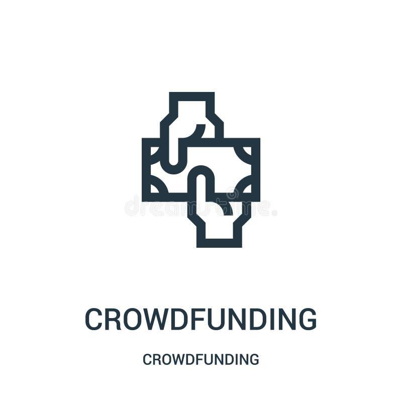从crowdfunding的收藏的crowdfunding的象传染媒介 稀薄的线crowdfunding的概述象传染媒介例证 库存例证