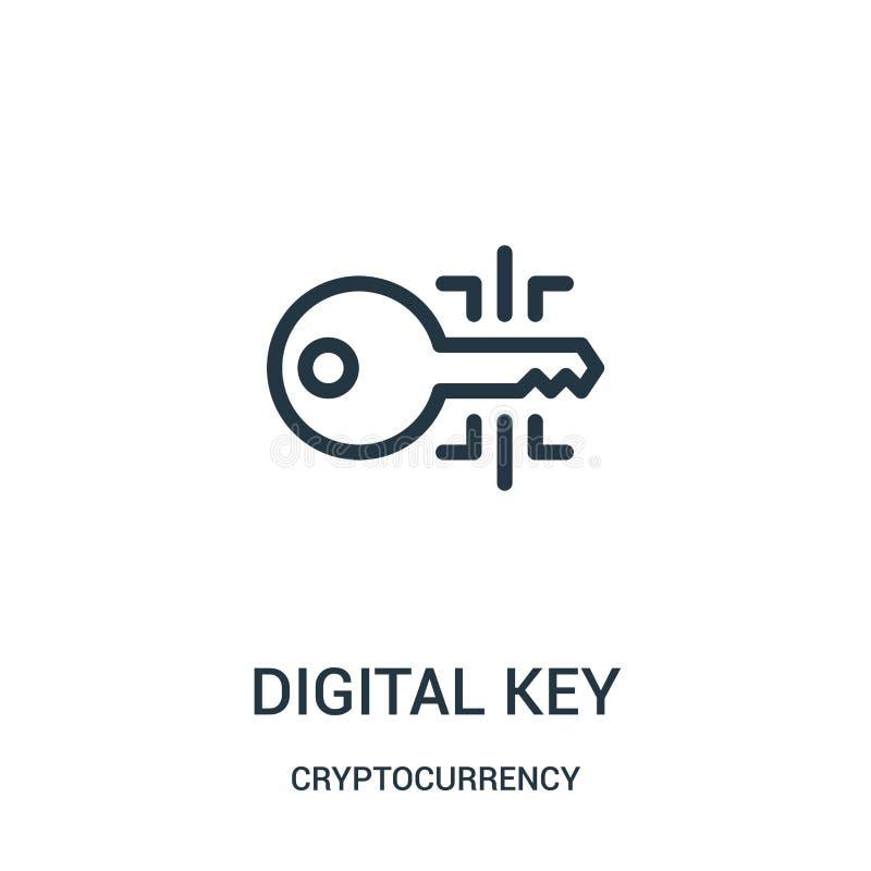 从cryptocurrency汇集的数字关键象传染媒介 稀薄的线数字关键概述象传染媒介例证 向量例证