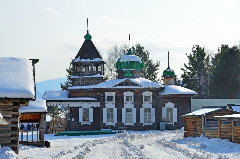 从Dyadino村庄的古老三位一体Troitskaya教会在Taltsy,伊尔库次克地区,俄罗斯村庄  免版税图库摄影