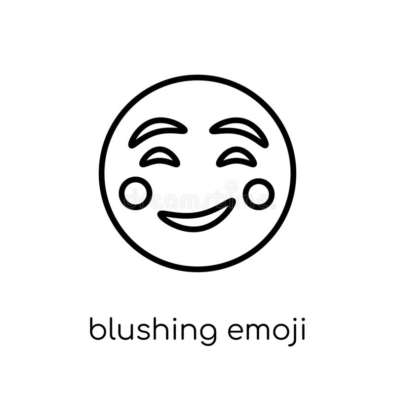 从Emoji汇集的脸红的emoji象 库存例证
