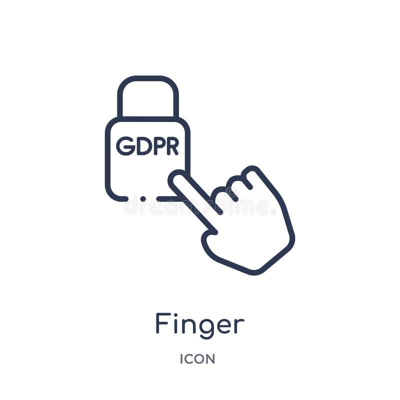 从Gdpr概述汇集的线性手指象 稀薄的线在白色背景隔绝的手指象 手指时髦例证 库存例证