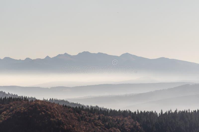 从Hala Rycerzowa的西部Tatras山脉在秋天Beskid Zywiecki山在波兰 库存照片