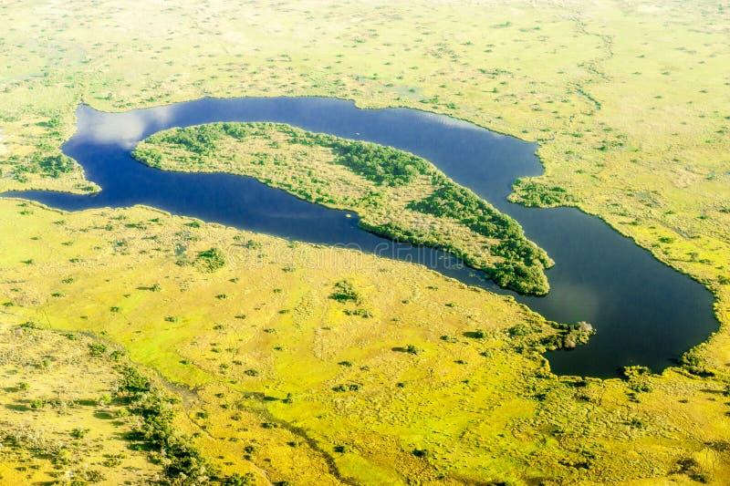 从heli看到的Okavango Delta 免版税库存图片