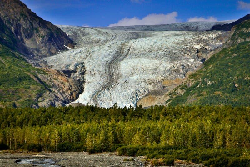 从Hrading icefield的出口冰川在阿拉斯加 免版税库存图片