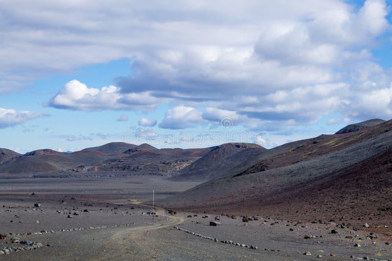 从Kverfjoll地区,冰岛全景的落寞风景 图库摄影