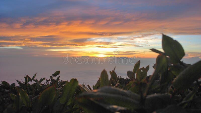 从Lawu山印度尼西亚的秀丽日出 免版税图库摄影