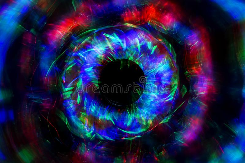 从LED光的抽象线与在黑背景的镜子 库存图片