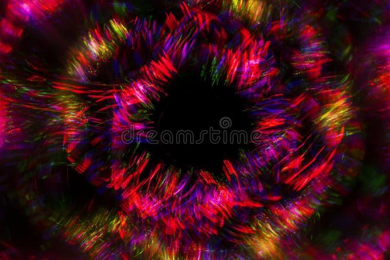 从LED光的抽象线与在黑背景的镜子 免版税库存图片