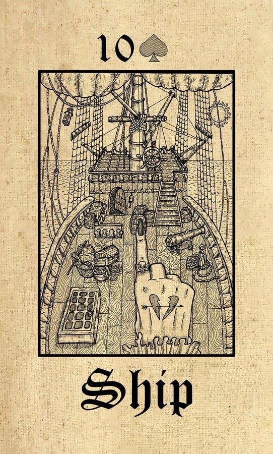 ? 从Lenormand哥特式奥秘oracle甲板的占卜用的纸牌 皇族释放例证