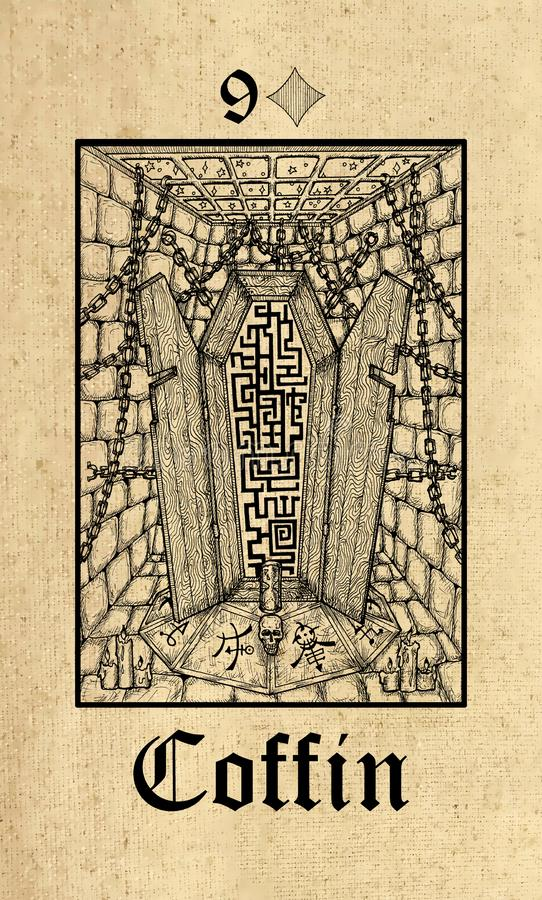 ?? 从Lenormand哥特式奥秘oracle甲板的占卜用的纸牌 向量例证