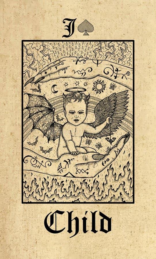 ?? 从Lenormand哥特式奥秘oracle甲板的占卜用的纸牌 库存例证