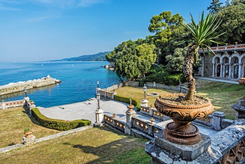 从Miramare城堡的看法在的里雅斯特,意大利附近 免版税库存图片